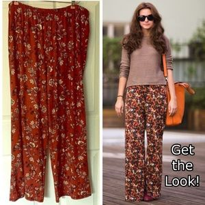 Palazzo Pants Lexington Avenue 2X Rust Floral